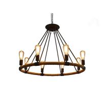 Wholesale Rustic Rope Chandeliers 8-light Pendant Lighting IRON Chandelier Lighting E27 lamp 100-240V AC from china suppliers