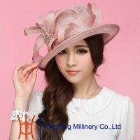 China Purple / Red roach Ladies Sinamay Hats In Summer For Outing on sale
