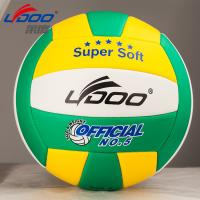 Wholesale PU volleyball, consist of 18pcs leather with double-layers butyl bladder, soft but durable from china suppliers