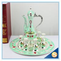 Quality Shinny Gifts GuangDong Factory Russian Style Wine Set Enamel Handmade Home Decorative Metal Trim Craft TXX for sale