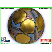 Wholesale Golden Metallic Leather Soccer Ball With CMYK Printed Patterns / Soccer balls from china suppliers