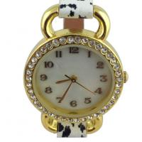 Quality Analog Display Womens Quartz Watches With Leopard Leather Strap for sale