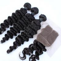 Wholesale brazilian hair deep wave natural color virgin hair bundles with lace frontal closure from china suppliers