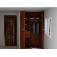 Quality Laminated / Bamboo Veneer Wardrobe Storage Cabinet With Brown Color for sale