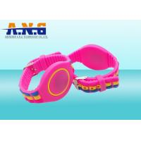 Wholesale Passive Adjustable Silicone Rfid Wristbands , Waterparks wristband rfid Pink from china suppliers