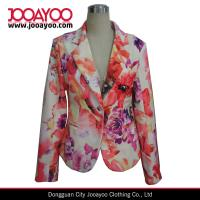 Wholesale Ladies Floral Print Blazer Designs Long Sleeves Office Wear Coat from china suppliers