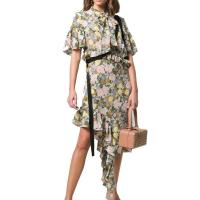 China Ruffle Sleeve Asymmetrical Hem Flounce Floral Printed Midi Shirt Dress with Button on sale