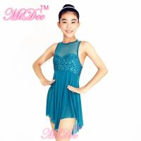 Wholesale Modern Dance Costumes Sweet Heart Cut Bust Attached With Mesh Neck Tricorn Cut Skirt from china suppliers