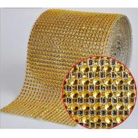 Wholesale Gold color Diamante Mesh Wrap rhinestone sew on trimming from china suppliers