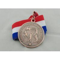 Wholesale 50 mm 3D Engraved Ribbon Medals , Triathlon Souvenir Medal With Neck Ribbon from china suppliers