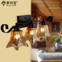 Wholesale Wrought Iron Wall Mounted Vintage Bathroom Over Mirror Lights with Glass Shade from china suppliers