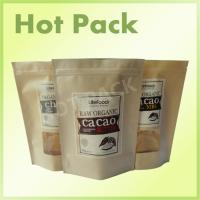 Quality Ziplock Kraft Stand Up Pouches With Tear Notch For Raw Organic Cacao / Nut / Butter for sale