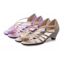 Wholesale Low Heel Purple Summer Fashion Sandals With PU Straps Hollow Upper Back Counter from china suppliers