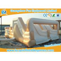 Wholesale White Double Trouble Inflatable Obstacle Course For Adults Rental Outdoor Extreme Sport Games from china suppliers