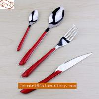Wholesale Frence Stainless Steel Cutlery Set With Red Plastic Handle from china suppliers