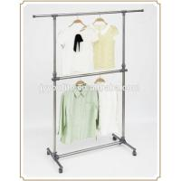 Wholesale Mobile Steel Standing Metal Clothes Rack with Wheels , Movable Two Layer from china suppliers