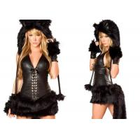Wholesale Black Faux Fur Party Adult Costumes Sexy Black Cat Costume for Halloween Party from china suppliers