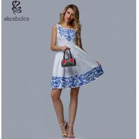 Wholesale Short Length Womens Embroidered Floral Dress White Sleeveless Casual Dress from china suppliers