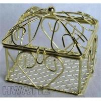 Buy cheap SMALL WIRE SQUARE BOX IN GOLD PLATED, HEART DESIGNS,CANDY BOX FOR WEDDING from wholesalers