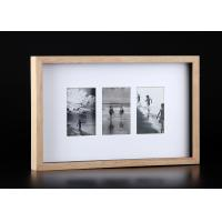 Wholesale Shadow Box 3 Openings Wood Art Frames For Wall Decor , Natural Finishing from china suppliers