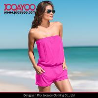 Wholesale Women Summer One-piece playsuit Strapless Elastic Neck and Wasit Jumpsuits from china suppliers