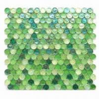 Wholesale Crystal Glass Mosaic with Luster Glaze in Green Mix, Suitable for Inner Decoration/Wall Use from china suppliers