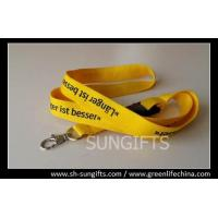 Wholesale Yellow plain standard lanyard with custom logo and safety metal hook from china suppliers