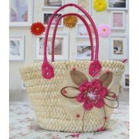 Wholesale Straw beach tote bag with PU handle from china suppliers