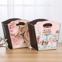 Wholesale Cake Candy Holder Pattern Toy Gift Foldable Storage Basket Small PU Leather Waterproof Flowers Gift Basket with Handle from china suppliers