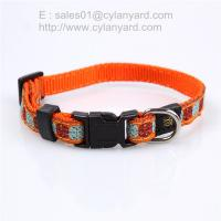 Wholesale Woven label applied ribbon dog collar, double layered polyester pet collar from china suppliers
