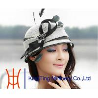 China Black White Women Ladies Sinamay Hats with Beautiful Feather Trimmig on sale