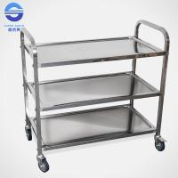 Wholesale Three Tier Serving Carts On Wheels , Food Serving Trolley in Stainless Iron from china suppliers