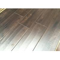 Quality Distressed Floating Laminate Floor with EIR Surface V Groove , Dark Walnut Wood Flooring for sale