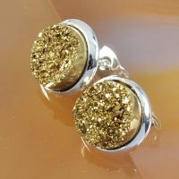 Wholesale Yellow Druzy Stud Earring , Circle Stud Earrings Faux Druzy Stone Jewelry from china suppliers