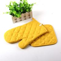 Wholesale Yellow Color AZO Free Customized Logo Printed Kitchen Oven Mitts / Silicone Oven Glove from china suppliers