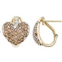 Wholesale Smokey quartz & White DiamondYellow Gold Heart Earrings from china suppliers