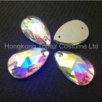 Wholesale Tear drop 11*18mm clear ab sew on crystals and beads for clothing from china suppliers
