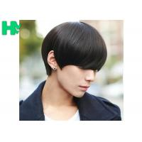 Wholesale Black Color Mens Synthetic Hair Wig With High Temperature , No Shedding No Tangle from china suppliers