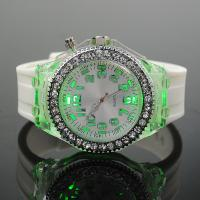 Wholesale White Lady Diamond Silicone Wristband Watches With LED Light from china suppliers