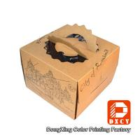 Wholesale Brown Kraft Paper Cake Packaging Boxes , Recyclable Square Cake Boxes With Handles from china suppliers