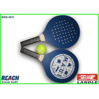 Wholesale Promotional Paddle Ball Set Wooden Beach Rackets With Holes , Dark Blue from china suppliers