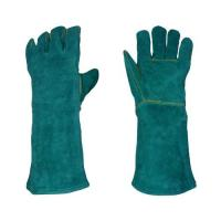 Wholesale Full lining long blue cow leather Welding Glove heat resistant for work WRCBG16-A from china suppliers