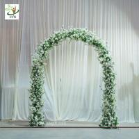 Wholesale UVG CHR1120 8ft white wedding arch in artificial cherry branches for theme decoration from china suppliers