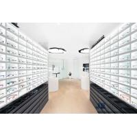 Buy cheap Eyeglass Shop Interior Display Furniture Pure White Wall Cabinets with Optical Shelves and Glass Showcase from wholesalers