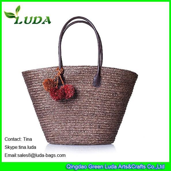 Quality LUDA chocalet straw handbags women tote wheat straw beach bags for sale