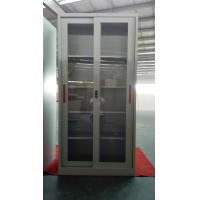 Quality Glass/steel door swing open steel cupboard cabinet Knocked down structure/white/grey color/cam lock for sale