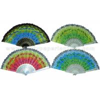 Wholesale Coconut Palm Printed  Lace Hand Fans from china suppliers
