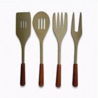 Wholesale 12-inch Durable Wooden Cutlery Dinner Ware Set Made of Maple Wood and Rubber Handle from china suppliers