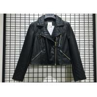 China Black Textured Pleather Ladies PU Jacket Asymmertrical Zip Through For Women for sale