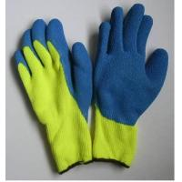 Wholesale Mens Wrinkle Finished Warm Winter Gloves with Blue Latex Coated Palm from china suppliers